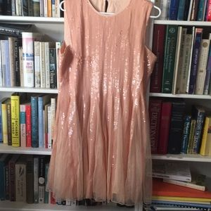 Apricot sequined and tulle short dress